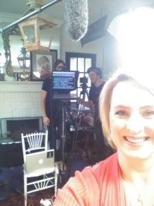 Shaunti at video shoot for The Kindness Challenge