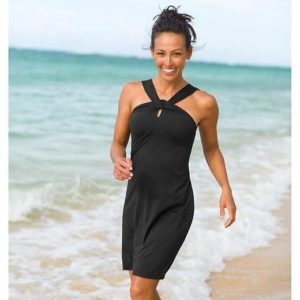 Black reverse halter swim dress copy
